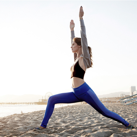 theblondesalad doing yoga