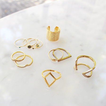 Stacking Rings featuring Jennifer Meyer, Samantha Wills, Michael Kors, Ariel Gordon, and Katie Dean Jewelry