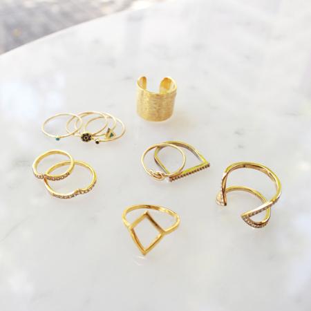 Stacking Rings featuring Jennifer Meyer, Samantha Wills, Michael Kors, Ariel Gordon, and Katie Dean Jewelry