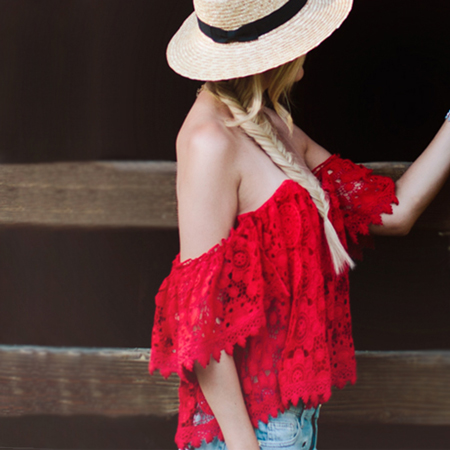 Dash of Darling in a red off the shoulder top