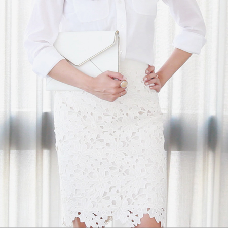All white outfit featuring a floral crochet pencil skirt